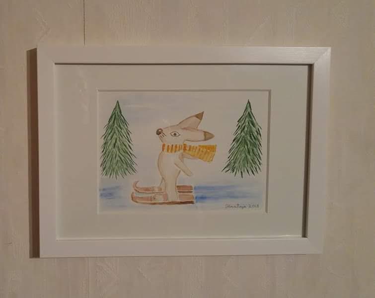 akvarellimaalaus pupu hiihtää